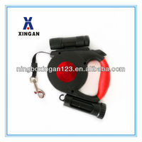 2015 new Red Reflector Retractable Dog Leash With Led Light And Poop Bag