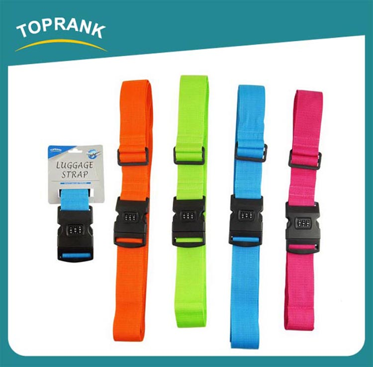 Toprank Wholesale Custom Colorful Travel Suitcase Polyester TSA Lock Luggage Belt Strap Adjustable Luggage Belt