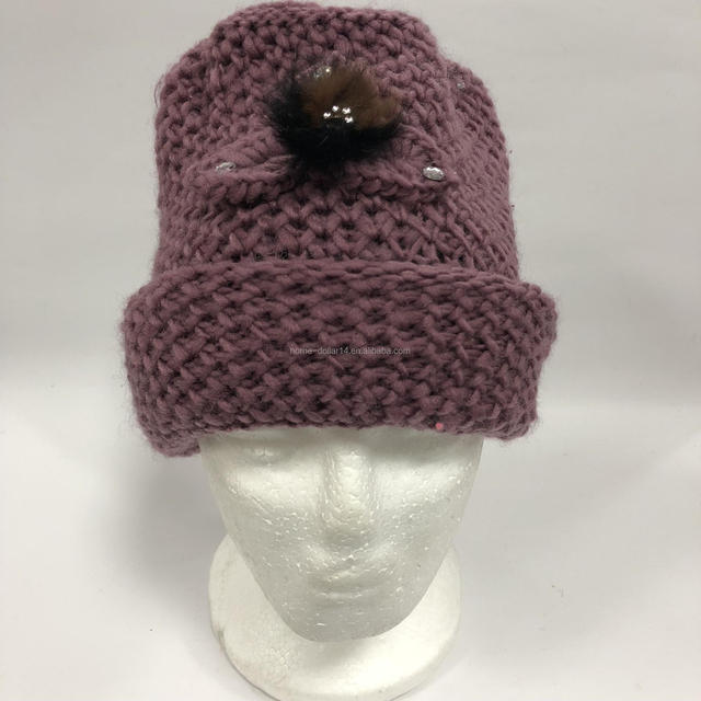 Wholesale Colorful Women Winter Custom Beanie Knitted Hat with the Pattern of flower