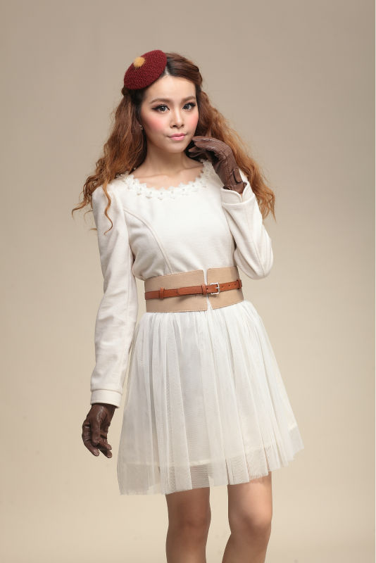 girls honorable white wool match chiffon skirt dresses with belt