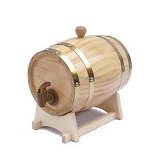 Custom made logo oak wooden beer barrel 5 liter with liner and stand