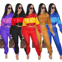2018 hot sell 8colors women Letter Print two piece Outfits (coat+long pants) team tracksuit jogger 2 Piece Set