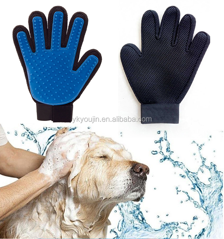 True touch pet deshedding, pet grooming glove with adjustable strap