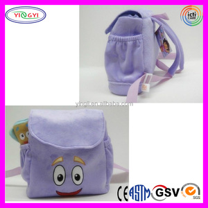 B137 Soft Dora The Explorer Backpack Plush Cartoon Leisure Backpack Bag with Pencil Case