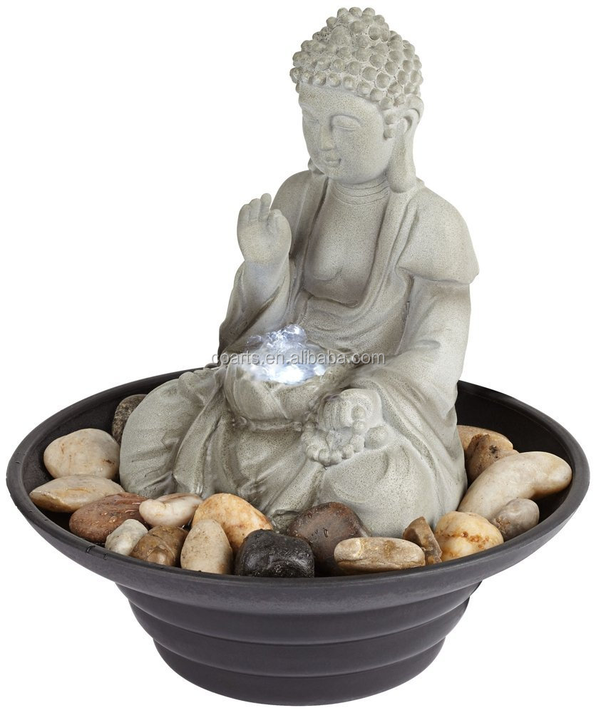 Sitting Buddha LED Tabletop Zen Fountain