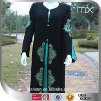 women fancy black bule pleated chiffon abaya symmetric embroidery design