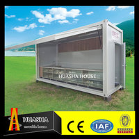 Modified container home with portable coffee bar prefab store