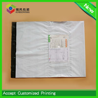 Disposable courier bag with side pocket,Clear pocket white opaque fedex poly mailer bags manufacturer