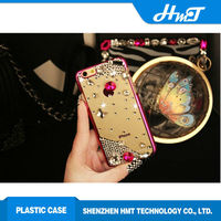 Luxury gold side and clear back cover Jewel style bling bling case for iPhone 6