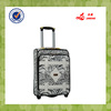 leopard material black color carry on luggage set trolley bag
