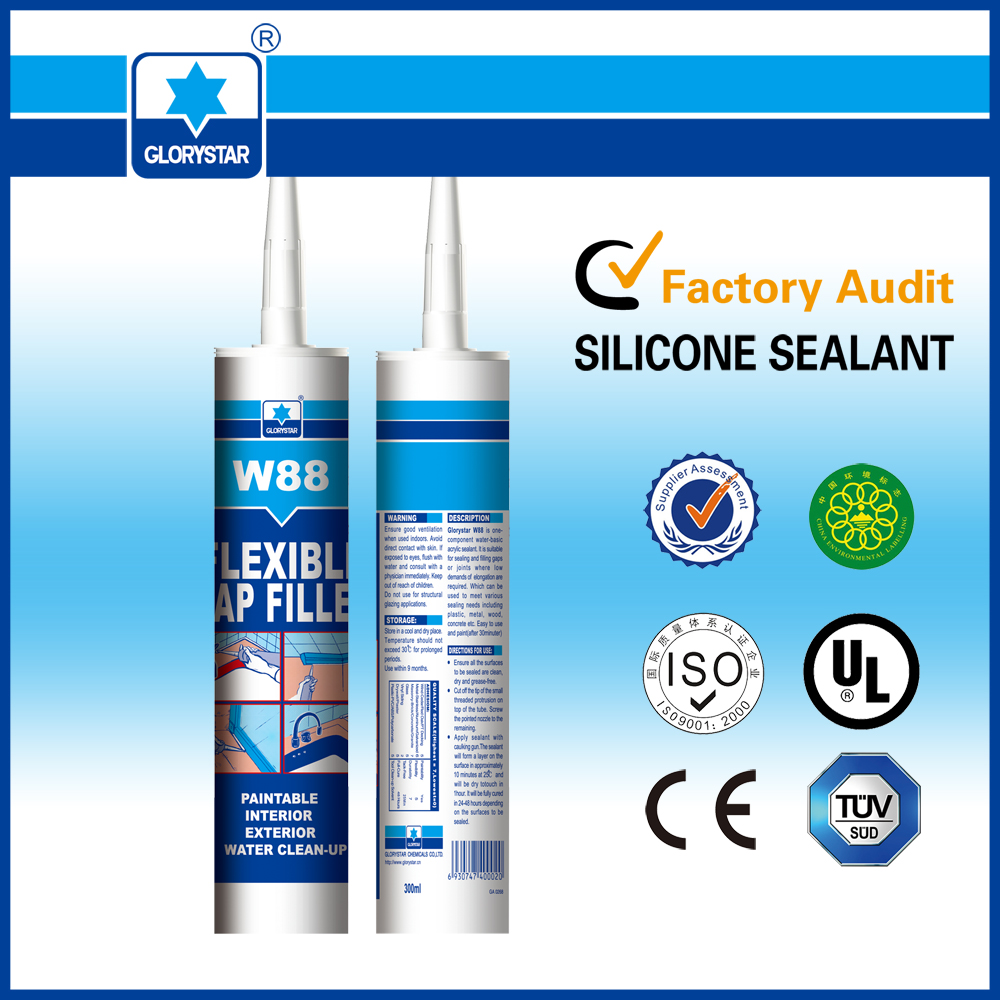 surface dry time <10min white color acrylic silicone sealant