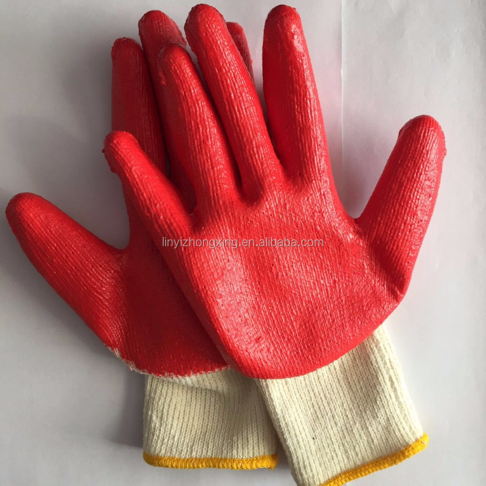 industrial a grade red latex coated cotton knitted working gloves
