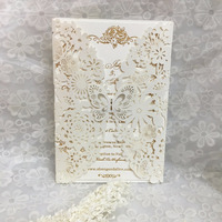 new design Elegant lavender Hollow Flower Butterfly Laser Cut wedding invatation Card With Envelope For Wedding Decoration