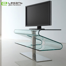 New design bent glass stainless steel tv cabinet