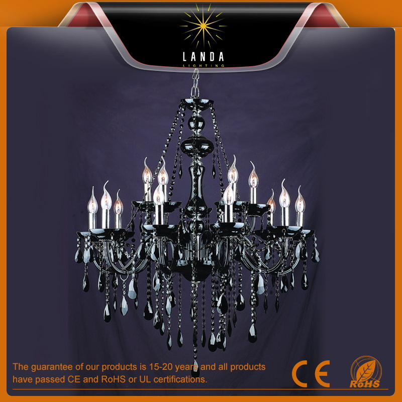 Modern Black Glass Crystal Chandelier
