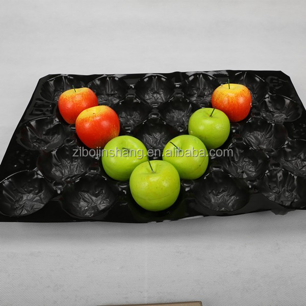 Plastic black fresh fruit packing tray