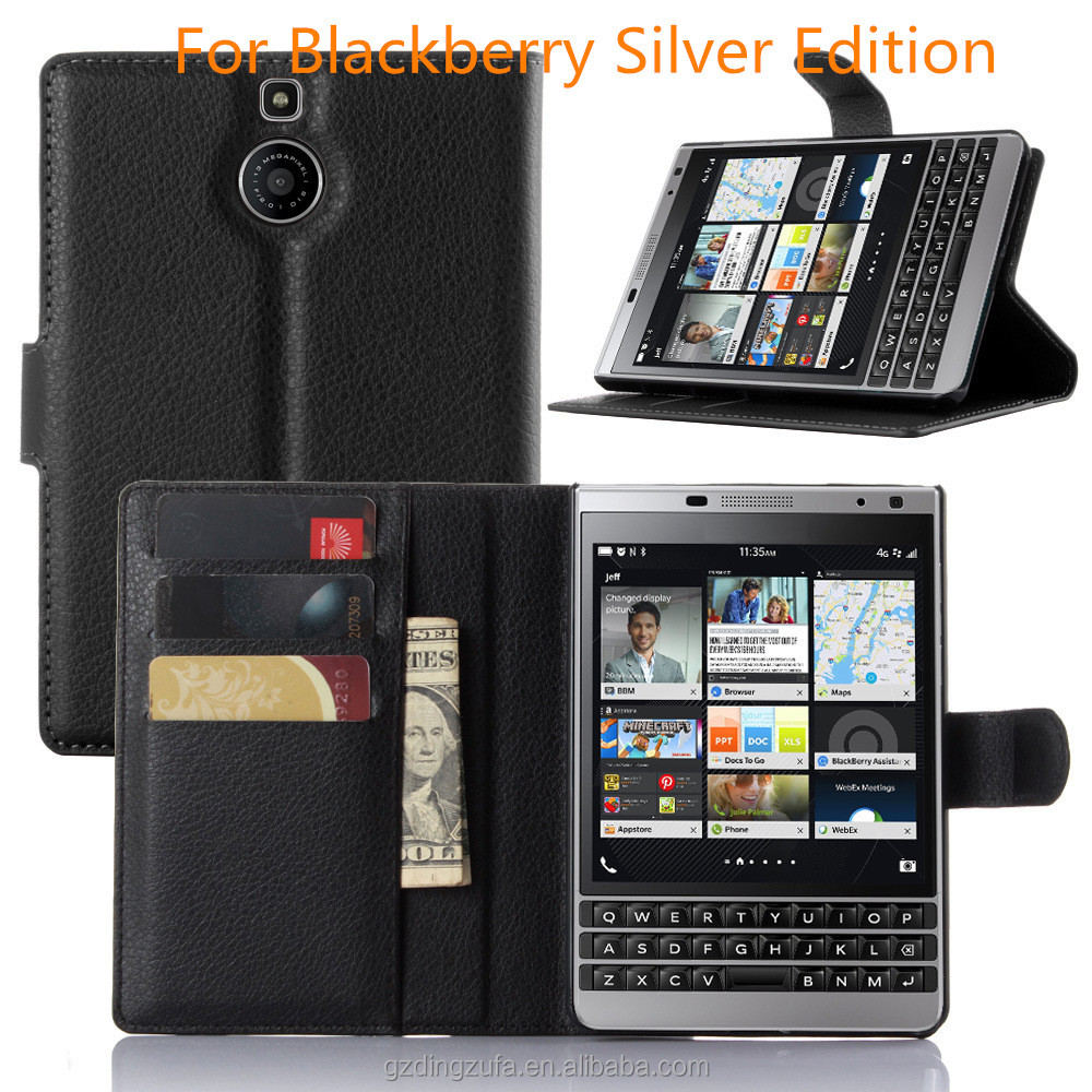 Free Sample fip PU Leather Wallet cell Phone cover Case For Blackberry Silver Edition