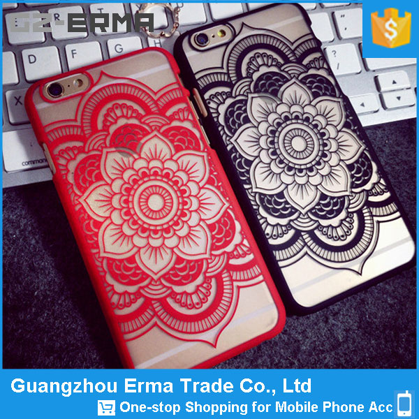 Full Mandala Hard Plastic Clear Case Silicone Skin Cover for iPhone 6/6s