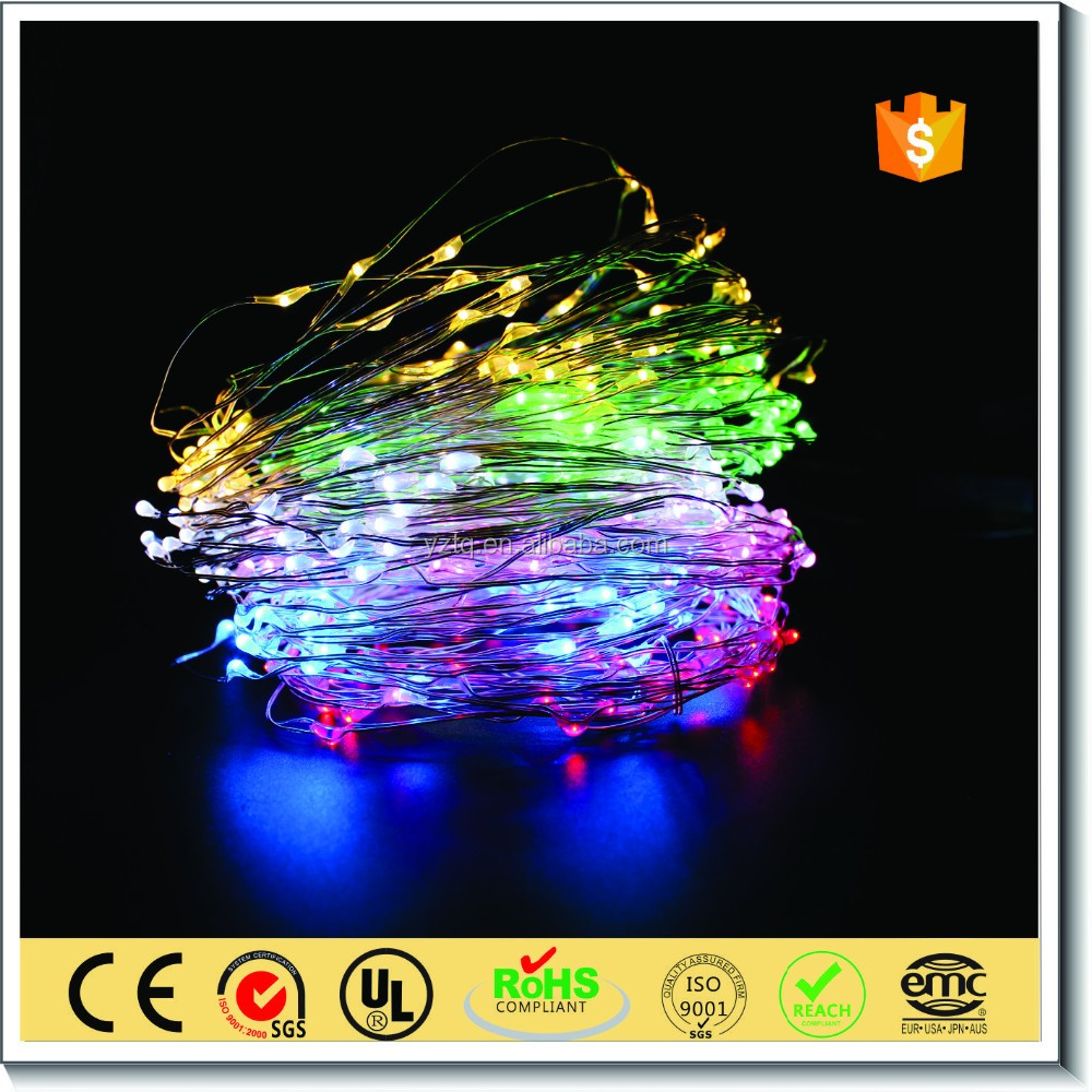Party decoration supplies min copper wire led twinkle lights with rainbow color
