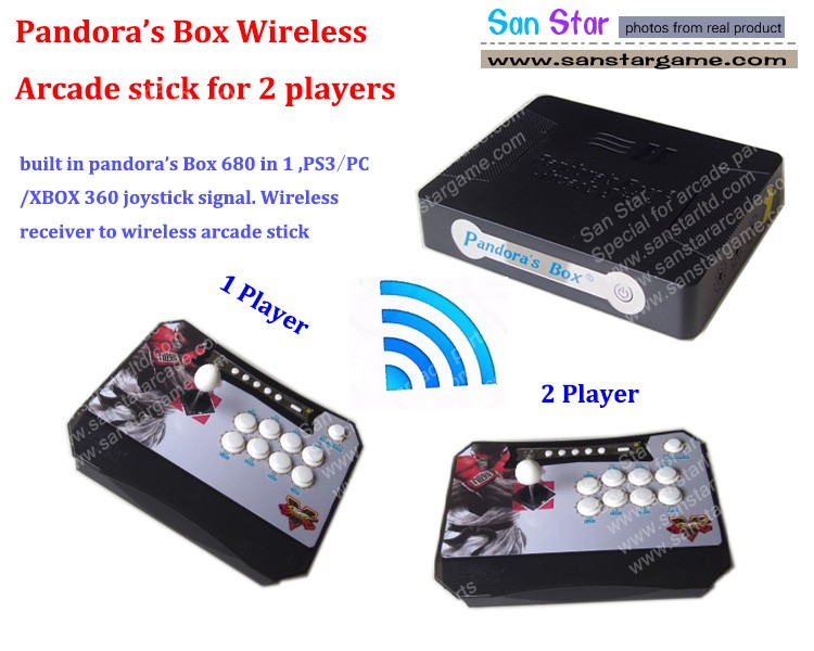 Pandora Box 4S Wireless Arcade Stick Game Console also Can Work With PS3 XBOX360 PC Arcade Fighting Stick