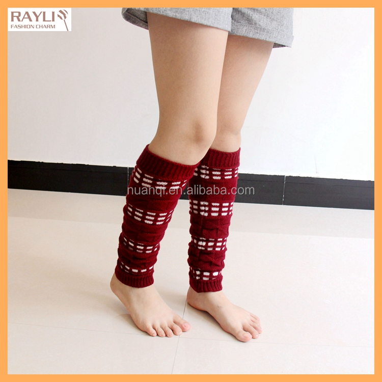 5 Colors Women Geometric Boots Socks Fashion Knee High Leg Warmers Knit Boot Cuff Leg Gaiter