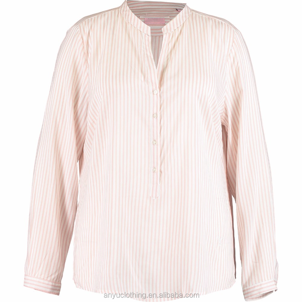 2017 New Fashion Pure Viscose White & Pink Striped Shirt for Women