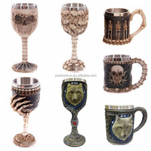 Creative 3D Skull Wolf Mug Funny Coffee Cups Cool Resin Stainless Steel Pirate Knight Drinking Grip Drinkware