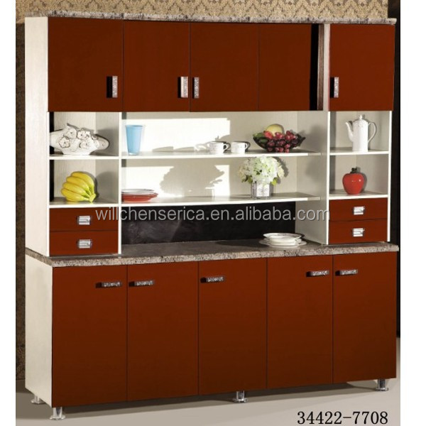 2015 New Design Modern Hot Selling 34422-7708 Red MDF Kitchen Cabinet