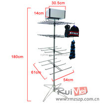 Customized Floor Standing Hat Gloves Scarf Display Rack