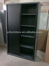 Gray black color plastic tambour sliding door cabinet,4 shelves steel filing caibnet,Full disassembled office furniture