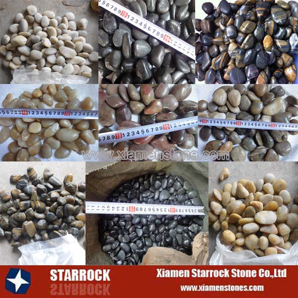 Natural polished pebble stone colors