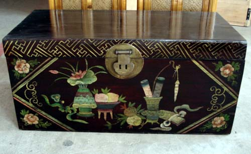 Chinese antique reproduction painted trunk