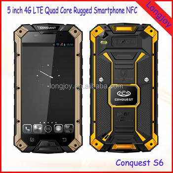 2016 Newest 4G LTE Rugged IP68 Waterproof Android 5.1 Mobile Phone Conquest S6 With GPS NFC 13.0MP Camera