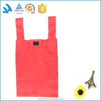 Promotional reusable supermarket grocery use foldable polyester shopping bag