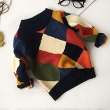 ca10016 color patchwork printed pullover knitting fashion boys sweaters