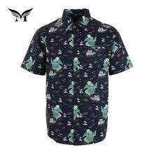 Made in China summer fancy printed casual pocket cotton beach short sleeve shirts men