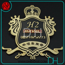 Cheap Car Club gold metal car badge with car name, laser team names, OEM/ODM service