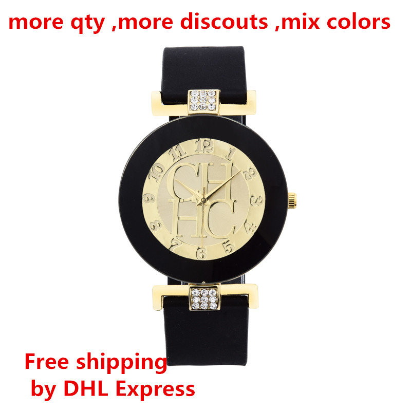 New Fashion Brand Black Geneva Casual Quartz Watch Women Crystal Silicone women's Watches Wrist Watch Relojes hombre 2017 <strong>Hot</strong>