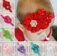 Beautiful lovely baby Newborn Infant Headband,red flower Bowknot pretty girls Pearl Hair Band Elastic in stock!!