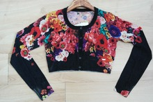 Fashion ladies full flower print long sleeves crop pattern knit ladies cardigan
