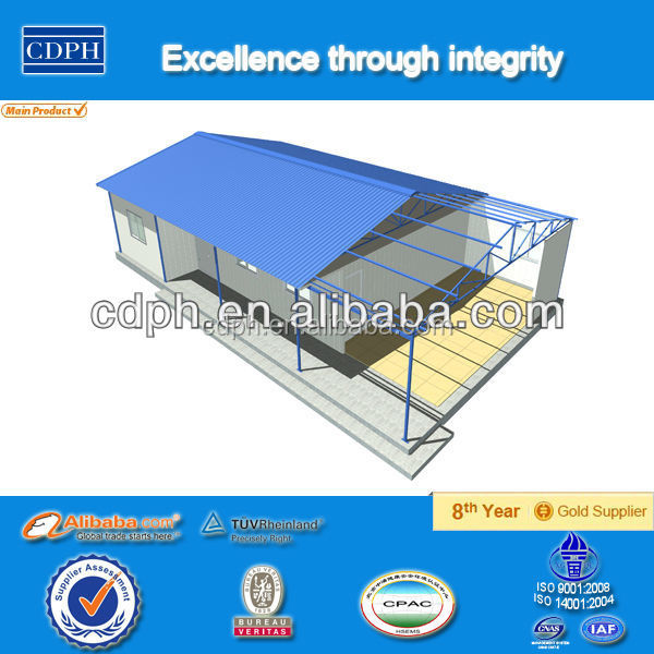 china supplier low cost light steel frame structure, Low cost EPS sandwich panel house, prefab house for site dormitory