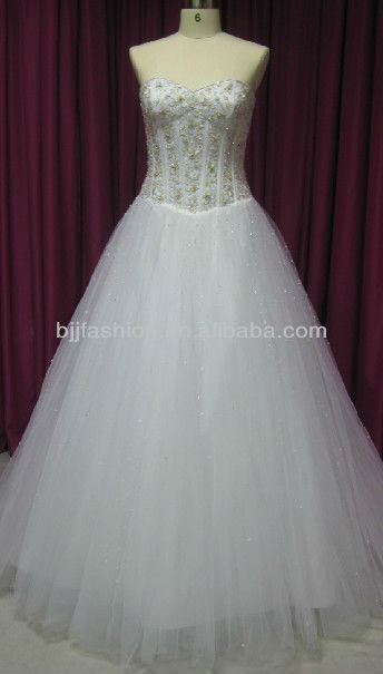 New Fashion beaded Strapless Sweetheart Floor-length Bridal Wedding Dress Guangzhou Manufacturer