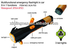 zombie survival kit, China supplier Crank Dynamo Light radio with compass siren safe saving function car kits
