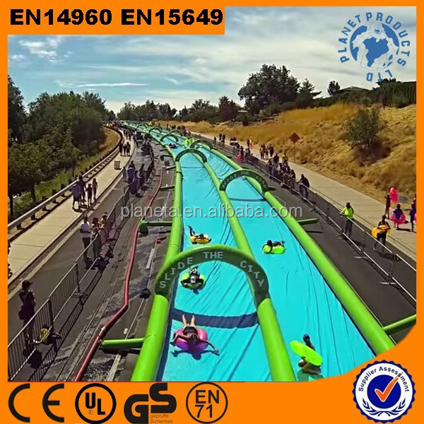 Most Popular Commercial 1000 ft Slip N Slide Inflatable Slide The City For Sale