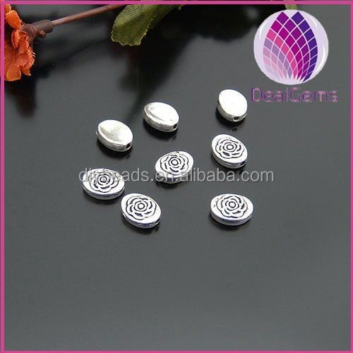 wholesale rose flower alloy silver plated oval spacer beads for jewelry findings