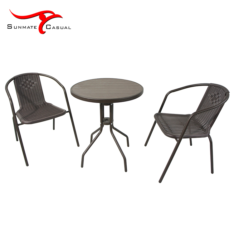 Cheap Plastic Outdoor Patio Furniture Bistro Wicker Round Coffee Table and Chairs Set