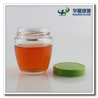 Top quality 200ml glass container caviar jar for honey with metal lid