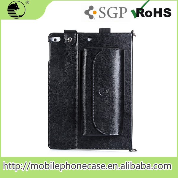vogue power bank pocket with belt Tablet Case For iPad air 2