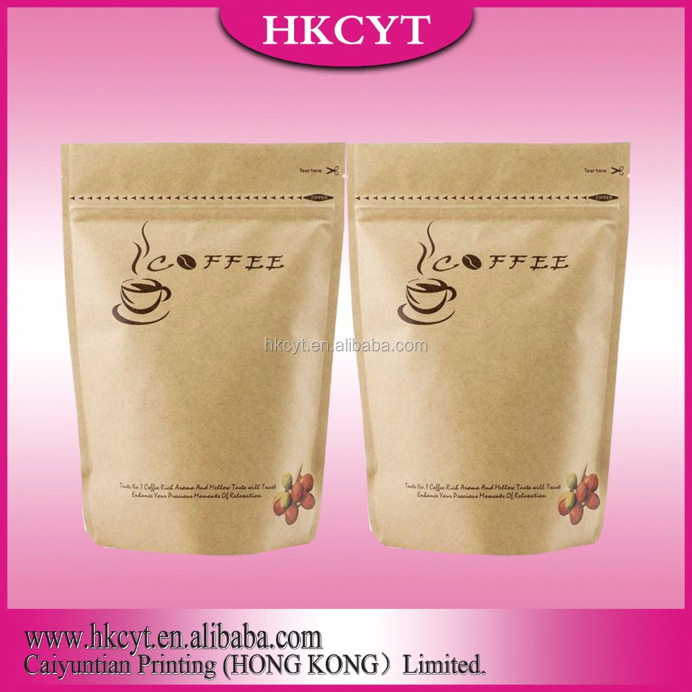 matte surface aluminum foil stand up bag with zipper for coffee powder