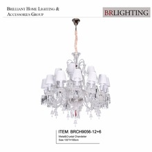 Hot sell modern design clear crystal chandelier pendant light with fabric shade for home hotel